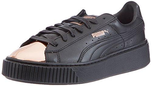 Puma Damen Basket Platform Metallic Sneaker Schwarz (Black-Rose Gold)