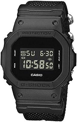 Casio G-Shock DW-5600BBN-1ER - Reloj digital negro con correa NATO para hombre, resistente a los golpes.