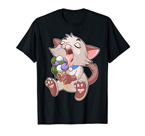 Genderqueer LGBTQ Ice Cream Cat Licking Cone Gay Pride T-Shirt (Cream Cone Ice Rosa)