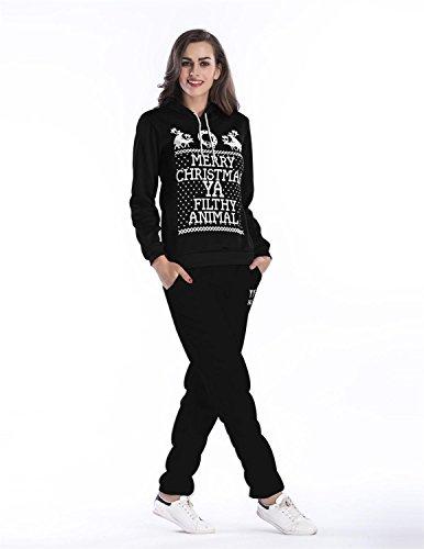 Sitengle Damen 2pcs Sportanzug Kapuzenpullover + Hose mit Weihnachten Zeichen Hirsch Jogging Trainingsanzug Suits Christmas Xmas Festtag Schwarz