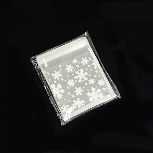 UNHO 100 Stück Selbstklebend OPP Tütchen, Klein Schnee Plastiktüten Süßigkeit transparent Beutel Flachbeutel Gebäck Tütenfür Geschenk Verpackung