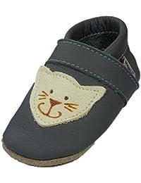 Mopu's® Krabbelschuhe - Lederpuschen in Grau mit Katzenmotiv - Handgemachte Markenqualität Aus Deutschland