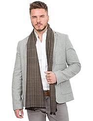 Foulard noir tissée à la main en laine mérinos motif diamants et rayures