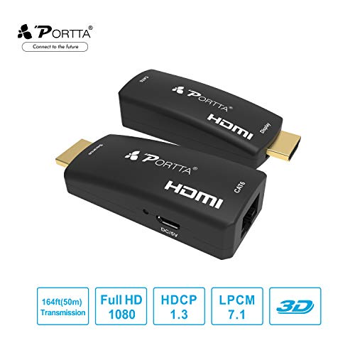 Portta HDMI Extender 50m(164ft) über Einzelnes UTP RJ45 CAT6 Kabel | Verlustfreie Übertragung | Full HD 1080p | Micro USB-powered | Kein zusätzliches HDMI-Kabel erforderlich | HDMI Sender + Empfänger -