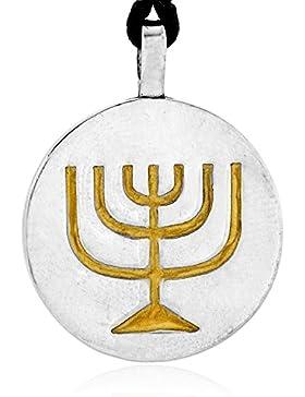 Llords Schmuck Judaica Menora Halskette Anhänger Jüdisches Symbol, feinster Zinn Metall Modeschmuck
