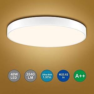 Bellanny LED Deckenleuchte,48W deckenlampe LED,Durchmesser 60 cm,Warmweißes Licht (3000K),Ultradünn Runde Led Deckenleuchte(5 cm Dicke) für Schlafzimmer, Küche, Arbeitszimmer, Büro usw.