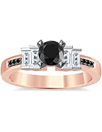 Silvernshine 1.35Ct Round & Buget Cut Black Sim Dimoands 14K Rose Gold Plated Engagement Ring