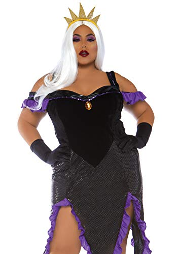 Schwuler Kostüm - Leg Avenue 86764X09039 2 teilig Kostüm Set Schwüle Seehexe, Damen, Schwarz, Lila, Größe 3X/4X (EUR 52-56)