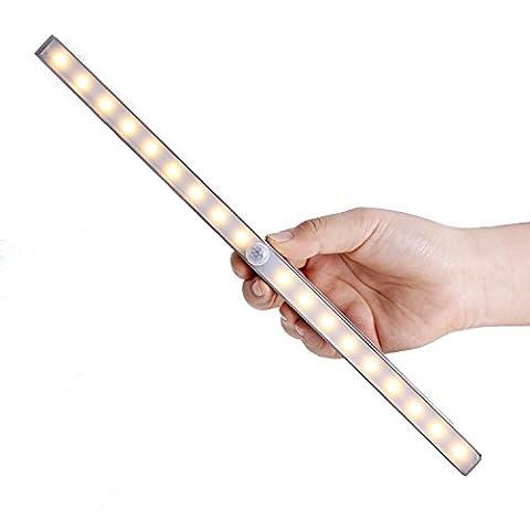 Unigear Schrank Licht mit USB Kabel wiederaufladbare LED Leiste Schrankbeleuchtung mit Bewegungssensor, ideal als LED Nachtlichter (Warmweiß-Wiederaufladbar)