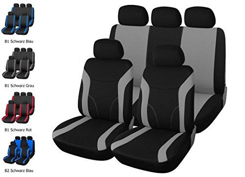 upgrade4cars Autositzbezüge Universal | Auto Sitzbezug Set 9 Teilig | Autozubehör Innenraum (Grau)