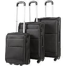 Pack.It Equipajes de Viaje, Juego de 3 Maletas Ligeras, 4 Robustas Ruedas, Negro