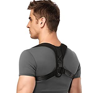 iDeporte Posture Corrector Posture support Brace Adjustable Straight Strap for Men and Women Back, Shoulder, and Neck Pain Relief (Size L 28-40 in)