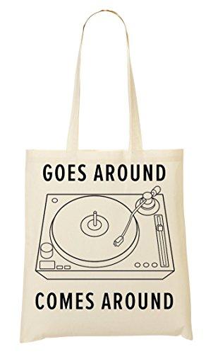 Vinyl Player Goes Around Comes Around Tragetasche Einkaufstasche