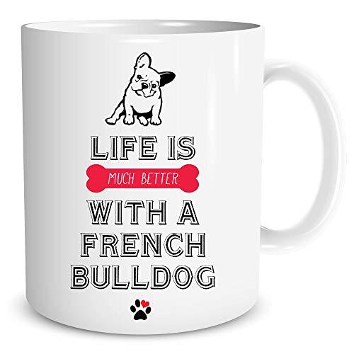 Neuheit Lustig Französische Bulldogge Becher Bedruckt Keramik Schalen Hund Liebhaber Geschenk- WSDMUG477 -