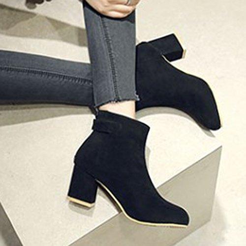 Aisun Femme Classique Bout Rond Low Boots Talon Bloc Chelsea Bottines Noir