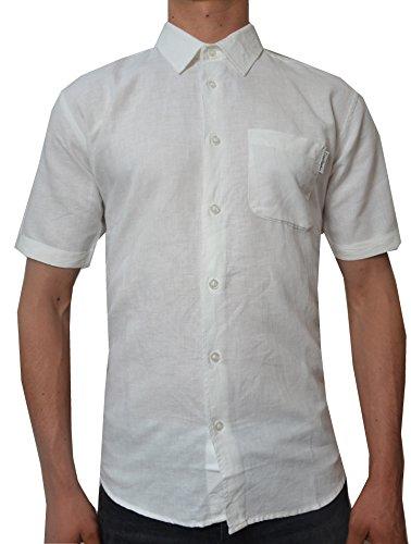 Pierre cardin uomo camicia bianca a lino a maniche corte con ricamo esclusivo (large, white)