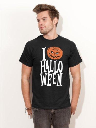 Herren T-Shirt I LOVE HALLOWEEN Shirt H2 schwarz - Größe XXL (Helsing Van Kostüm)