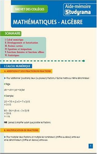 Mathématiques-algèbre : Brevet des collèges