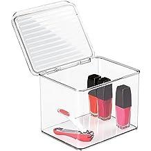 mDesign Caja organizadora con tapa – Transparente y apilable – Versátil sistema de almacenaje para baño, cocina o material de oficina