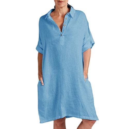 TITIU Damen Plus Size Unregelmäßige Mode Lose Leinen Kurzarm Shirt Vintage Bluse Tank Tee Oberteil Top(X4-Blau,XL) -