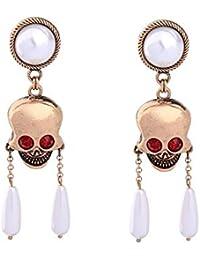 9e495f420693 Pendientes Vintage Perla Cráneo Personalidad Pendientes Largos Femeninos  Creativos