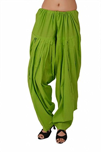 Stylenmart Parrot Green Cotton Semi Patiala Pants for Women