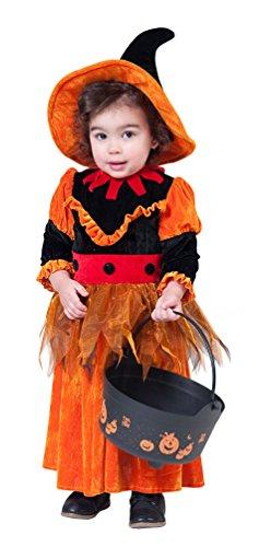 Kleinkind Hexe Kostüm - Karneval-Klamotten Hexenkostüm Baby Kostüm Hexe Klein-Kinder Baby-Kostüm mit Hexenhut Größe 98