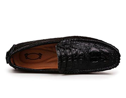 Krokodil Studio SK Slipper Freizeit Halbschuhe Loafers Fahren Schuhe Schwarz Textur Mokassin Fahrschuhe Mit Licht Herren rSqAqdUI
