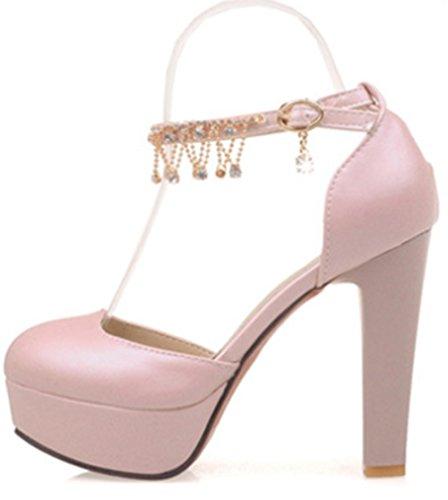 Aisun Damen Sexy Strass Metallic Kette Geschlossen Plateau Trichterabsatz Sandalen Pink 38 EU uYJugrLGy