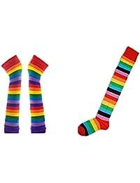 LATH.PIN Mitaines longues et chaussettes hautes (genoux) à rayures arc-en-ciel pour femme