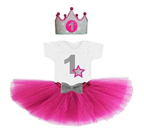 Conjunto primer cumpleaños 1 año para bebes niñas fucsia (Corona + body o camiseta + tutu)