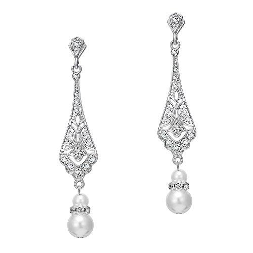 Coucoland 1920s Retro Stil Ohrringe Damen Perlen Dangle Ohrringe Inspiriert von Great Gatsby Damen Kostüm Accessoires (Stil 2-Silber)