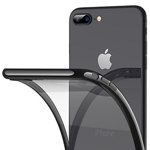 RANVOO Kompatibel mit iPhone 8 Plus/7 Plus Hülle, Silikon TPU Soft Dünn Transparent Weich Flexibel Slim Durchsichtig Rücken Case Schutzhülle Cover Handyhülle (5,5 Zoll), Schwarz -