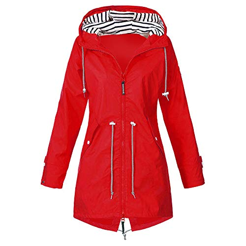 Vertvie Damen Outdoorjacken Wasserdichter Regenjacke Regenmantel Mit Kapuze Windbreaker Ü