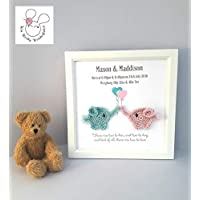 Twins Gift - New baby gift, Personalised baby Gift Frame, boy girl, Child's room gift, Twins Gift, Nursery Decor, Personalised Twins Gift