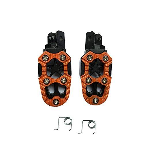 Khxypm 86 Universal Aluminiumlegierung Motorrad Fußrasten Front Rider Fußrasten Pedale für Dirt Pit Bike ATV Motorräder Roller Zylinderkopfdichtungen (Farbe : Orange)