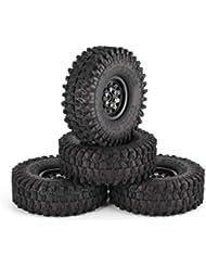 FancyswES8eety 4pcs 1.9in neumáticos de Goma llanta de Metal llanta para Traxxas TRX-4