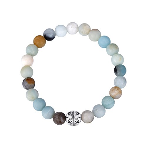 Geld-beutel Braut (Natürliche 8 mm Edelsteine MetJakt Heilung Crystal Stretch Perlen Armband Armreif mit 925 Sterling Silber Double Happiness Anhänger (AMAZONITE))
