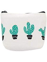 Zentto Monedero de Cactus Pequeño Cartera Bolsa de Tela Lino Simple Arpillera para Moneda Efectivo Tarjeta