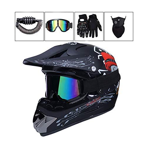 LEENY Motocross Helm - Erwachsener Motorrad-Off-Road-Helm mit Brille/Maske/Handschuhe/Sicherheitsschloss, Cross-Helm DH Enduro ATV BMX Quad Motorräder-Helm, Matts Chwarz,S - Fox Racing Mädchen Handschuh