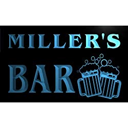 Cartel Luminoso w000006-b MILLER Name Home Bar Pub Beer Mugs Cheers Neon Light Sign