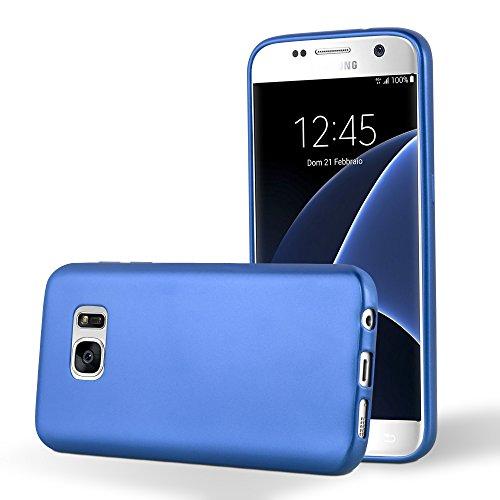Preisvergleich Produktbild Cadorabo Hülle für Samsung Galaxy S7 - Hülle in METALLIC BLAU – Handyhülle aus TPU Silikon im Matt Metallic Design - Silikonhülle Schutzhülle Ultra Slim Soft Back Cover Case Bumper