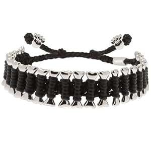 Heart U Back Black and Silver Dog Bone Friendship Bracelet of Length 21 cm/8 inch
