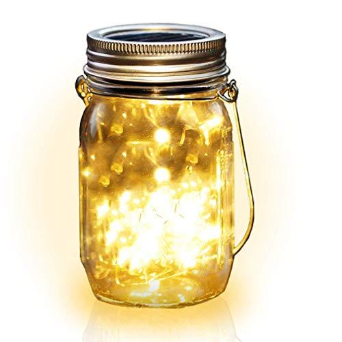 BizoeRade Solar Einmachglas Licht mit Glas und Griff, 10 LED Einmachglas Fairy Light, solarbetriebene Einmachglas Nachtlicht wasserdicht für Outdoor-Dekoration - 1PCS (Mason Dekorationen Gläser)