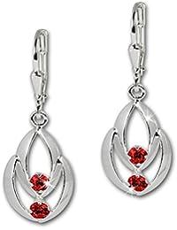 SilberDream Boucles d'oreilles - boucles d'oreilles Glamour zircon rouge - argent sterling 925 pour femme - SDO522R