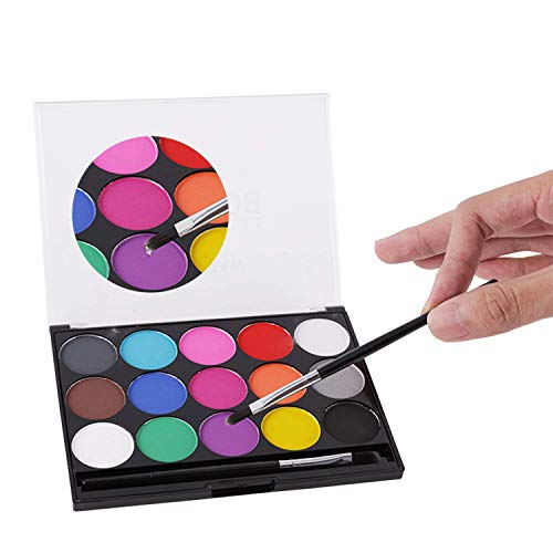 Jamisonme Face and Body Paint Kit, Professional Washable Nontoxic 15 Fashionable Colors Paints with Two Paint Brushes,Ideal for Party Face Painting Painting