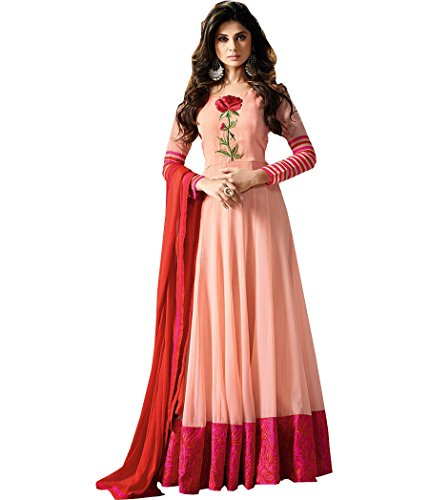 Stylefabs Designer Bollywood Peach Georgette Anarkali Semi-Stitched Suit  available at amazon for Rs.1799