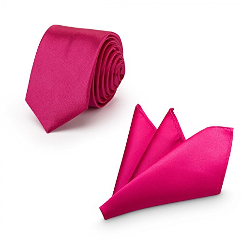 Rusty Bob - Herren-Krawatte mit Einstecktuch + Fliege - erhältlich in verschiedenen Farben - zum Anzug, zur Taufe, Hochzeits-Set - 3-teilig - Pink -
