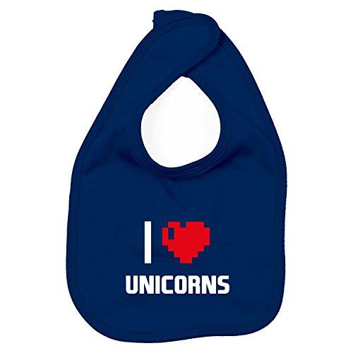 Lätzchen - I Love Unicorns - Einhorn Girly, Navy