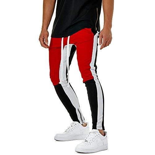 ALIKEEY 2018 ☤☤☤ Pantalones De CháNdal Sueltos Ocasionales La Aptitud del Deporte Los Hombres Moda Que Activan Deportivos Costura Casual Personalidad Entrenamiento Corriendo (Rojo, 3XL)